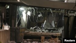 在墨西哥城的墨西哥國家石油公司總部星期四發生爆炸後的現場