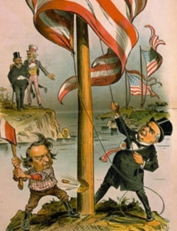 A cartoon showing William McKinley, right, trying to raise the United States flag over the Philippines, while William Jennings Bryan tries to chop it down