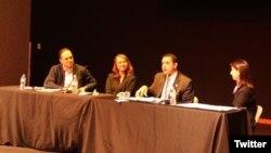 Panelistas en discusión NAFTA en la Era de Trump, en el Festival SXSW 2017, en Austin, Texas.