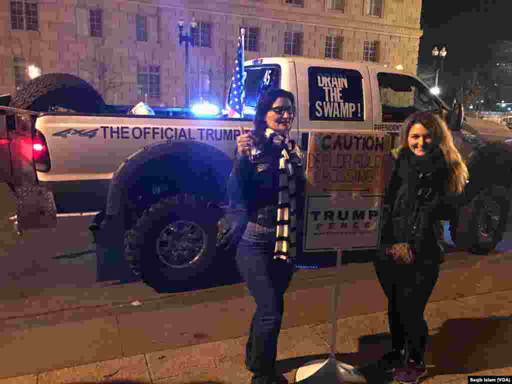 Near the White House, people were taking their pictures with a Trump supporter's truck in the background, Jan. 19, 2017.