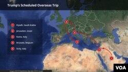 Mapa prvog putovanja predsjenika Trumpa u inostranstvo