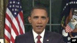 奥巴马总统在白宫椭圆形办公室对全国发表讲话