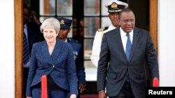 Theresa May da shugaban kasar Kenya Uhuru Kenyatta.