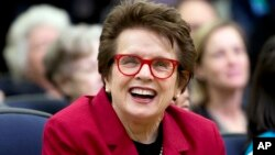 FILE - Tennis great Billie Jean King laughs, reacting to President Barack Obama's remarks in the Eisenhower Executive Office Building on the White House complex in Washington, Jan. 29, 2016.