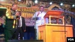 UMongameli Emmerson Mnangagwa ukhuluma esinkonzweni yeFamily of God Church boBulawayo.