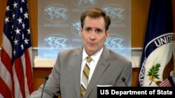 美国国务院发言人约翰.柯比发表声明祝贺蔡英文在台湾总统选举中胜选.(资料照片)
