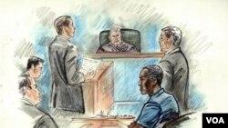 Tampak dalam sketsa gambar yang dibuat di pengadilan, dari kiri : Jaksa Federal Joseph DePadilla, Paul Casey, dan Benjamin Hatch, Hakim F. Bradford Stillman, Mohammad Saaili Shibin, pembela James Broccoletti di Pengadilan Norfolk, Virginia. Shibin, warga