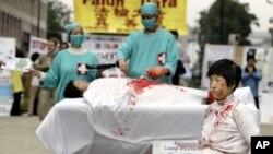 一名法轮功学员2006年6月15日在欧洲委员会前抗议他们所说的中国摘除法轮功学员器官的犯罪行为