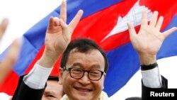 流亡美国的柬埔寨救国党领导人桑兰西