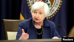 FILE - Federal Reserve Chair Janet Yellen speaks during a news conference after a two-day Federal Open Market Committee (FOMC) meeting in Washington, March 15, 2017.