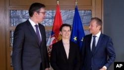 Predsednik i premijerka Srbije, Aleksandar Vučić i Ana Brnabić sa predsednikom Evropskog saveta Donaldom Tuskom