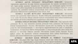 Elçin Bünyatovun həbsi barədə məhkəmə qərarı