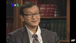 Sam Rainsy, leader of an opposition party, sits down for an interview with VOA Khmer, file photo.