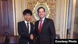 黃之鋒會見魯比奧參議員(香港眾志的秘書長黃之鋒臉書圖片)