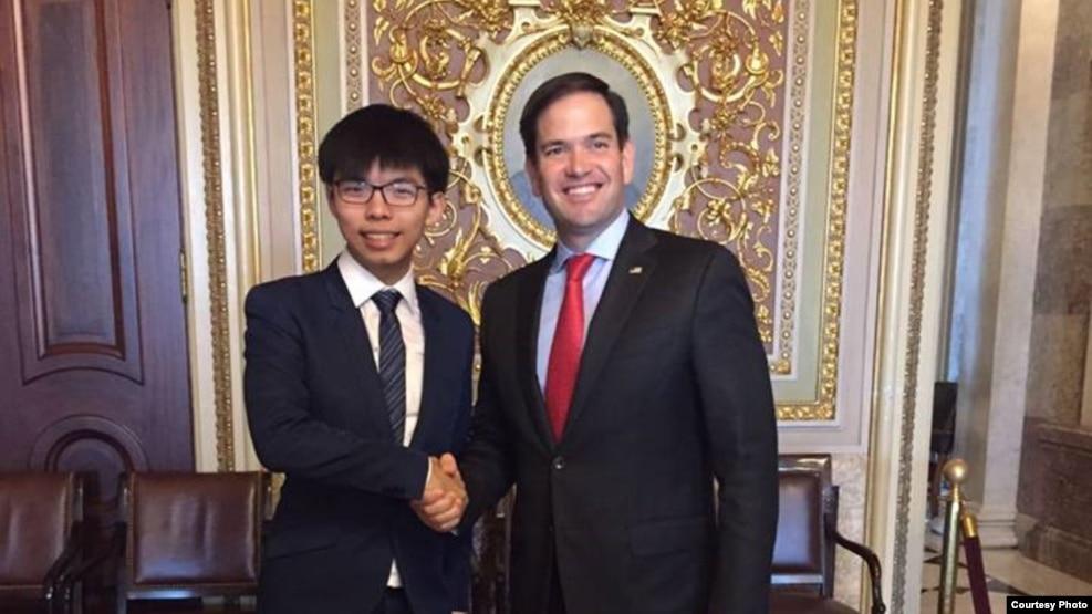 黄之锋会见鲁比奥参议员(香港众志的秘书长黄之锋脸书图片)