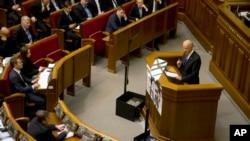 El vicepresidente Biden se dirige al parlamento ucraniano en Kiev.