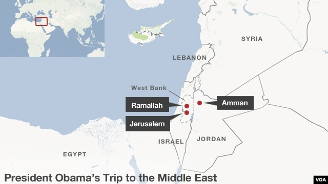 Stops President Barack Obama is making on his trip to the middle east, March 20-22.