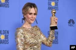 "Sarah Paulson poses in the press room with the award for best performance by an actress in a limited series or a motion picture made for television for ""The People v. O.J. Simpson: American Crime Story"" at the 74th annual Golden Globe Awards at the Beverly Hilton Hotel on Sunday, Jan. 8, 2017, in Beverly Hills, Calif."