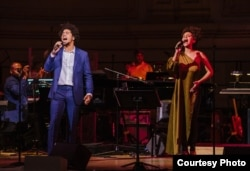 "Rob performs his original song ""Testify"" with teaching artist Sarah Elizabeth Charles in concert at Carnegie Hall, March 11, 2018. (Photo by Fadi Kheir)"