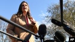 Пресс-секретарь Белого дома Сара Сандерс. Вашингтон. 25 марта 2019 г.