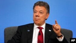 FILE - Colombia President Juan Manuel Santos, May 12, 2016.