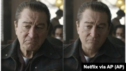 """These photos show actor Robert De Niro, left, during the filming of """"The Irishman"""" and the younger De Niro created by visual effects expert Pablo Helman."""