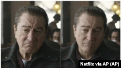 "These photos show actor Robert De Niro, left, during the filming of ""The Irishman"" and the younger De Niro created by visual effects expert Pablo Helman."