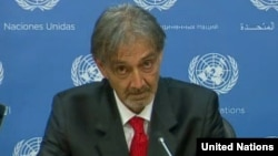 Italian Red Cross President Francesco Rocca speaking at the United Nations, May 6, 2015 (UN).