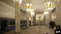 Станция метро «Октябрьская» в Минске, где 11 апреля 2011 года произошел взрыв