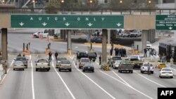 Американский КПП на шоссе на границе с Мексикой