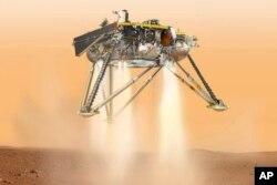 화성 표면에 착륙하는 인사이트 탐사선의 상상도. NASA 제공.