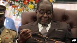 President Robert Mugabe in Zvimba, Zimbabwe, Jan. 21, 2014, wants to expand the economy an average of 7.1 percent a year by 2018.