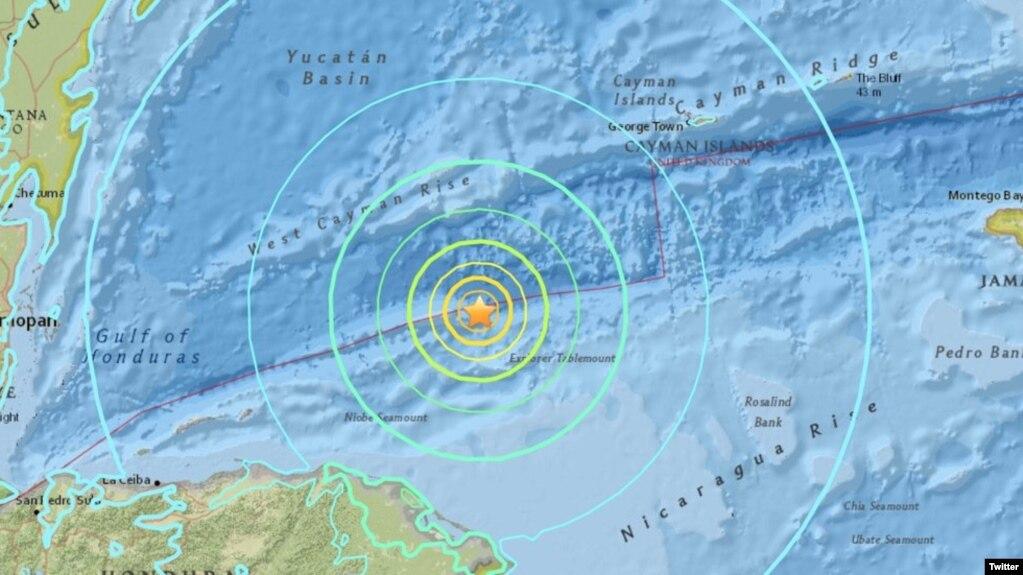 El masivo sismo de 7,6 tuvo su epicentro en el Mar Caribe, entre Honduras y Cuba. Imagen: @USGS.