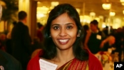 This Dec. 8, 2013 photo shows Devyani Khobragade, India's deputy consul general, during the India Studies Stony Brook University fundraiser at Long Island, New York.