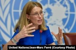 FILE - Karin de Gruijl, U.N. High Commissioner of Refugees spokeswoman, April 14, 2014.