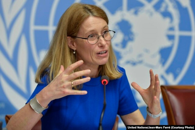 FILE - Karin de Gruijl, U.N. High Commissioner of Refugees spokeswoman, April 14, 2014.