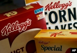 FILE - Kellogg's brand food products are photographed in North Andover, Massachusetts, Oct. 31, 2012.