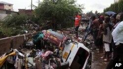 ARCHIVES - Dégats après une innondation à Accra, Ghana, le 4 juin 2015.