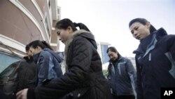 중국 단둥에서 일하는 북한 여성 근로자들. (자료사진)