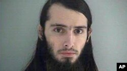 FILE - Court documents say Christopher Lee Cornell, shown in this Butler County (Ohio) Jail photo, intended to set off pipe bombs outside the U.S. Capitol and shoot people around it.
