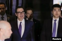 美国财长姆努钦2月14日离开北京的酒店