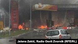 Bosnia and Herzegovina-- Gas station in smoke, Zvornik, December 23, 2019