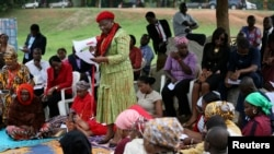 Obiageli Ezekwesili, former World Bank vice president and former Minister of Education, addresses a sit-in protest calling for the release of the abducted secondary school girls in the remote village of Chibok, at the Unity Fountain Abuja May 12, 2014. Th