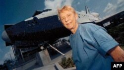 Jerrie Cobb, one of the Mercury 13, at the Kennedy Space Center Visitor Complex in Florida in 1998