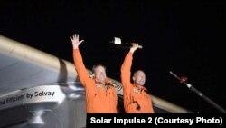 Les pilotes de Solar Impulse 2, Bertrand Piccard et André Borschberg, à Lehigh Valley en Pennsylvanie