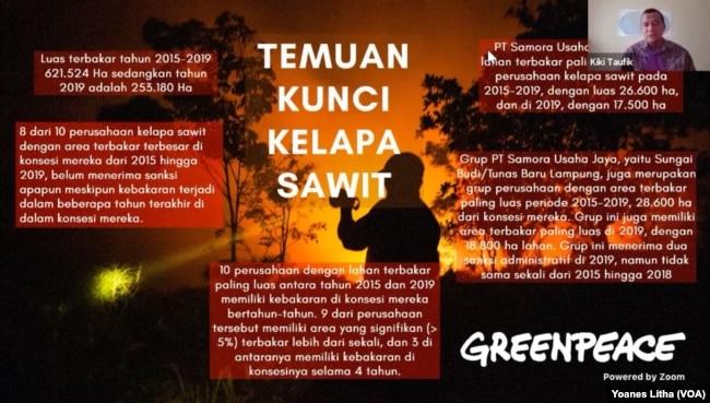 Kiki Taufik, Kepala Kampanye Hutan Global Greenpeace Asia Tenggara memaparkan temuan kunci kasus kebakaran lahan di areal perkebunan kelapa Sawit 2015-2019, 22 Oktober 2020. (Foto: VOA/Yoanes Litha)