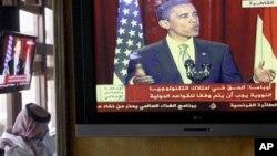 美國總統奧巴馬重申對巴林的堅強支持得講話在中東的電視台播出