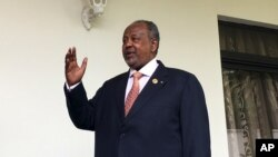 FILE - Djibouti's President Ismail Omar Guelleh arrives for a Reuters interview at his home in Ethiopia's capital Addis Ababa, Jan. 30, 2016. Djibouti's ruling party declared on April 9, 2016, that President Ismail Omar Guelleh won Friday's presidential election, gaining nearly 87 percent of the votes.