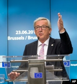 European Commission President Jean-Claude Juncker speaks during a media conference at an EU summit in Brussels, June 23, 2017.
