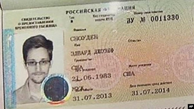 NSA leaker Edward Snowden received this temporary asylum visa to Russia on Thursday, August 1.